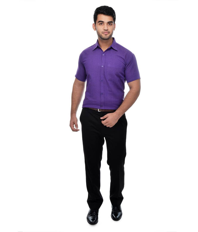 Purple Cotton Solid Regular Fit Formal Shirt