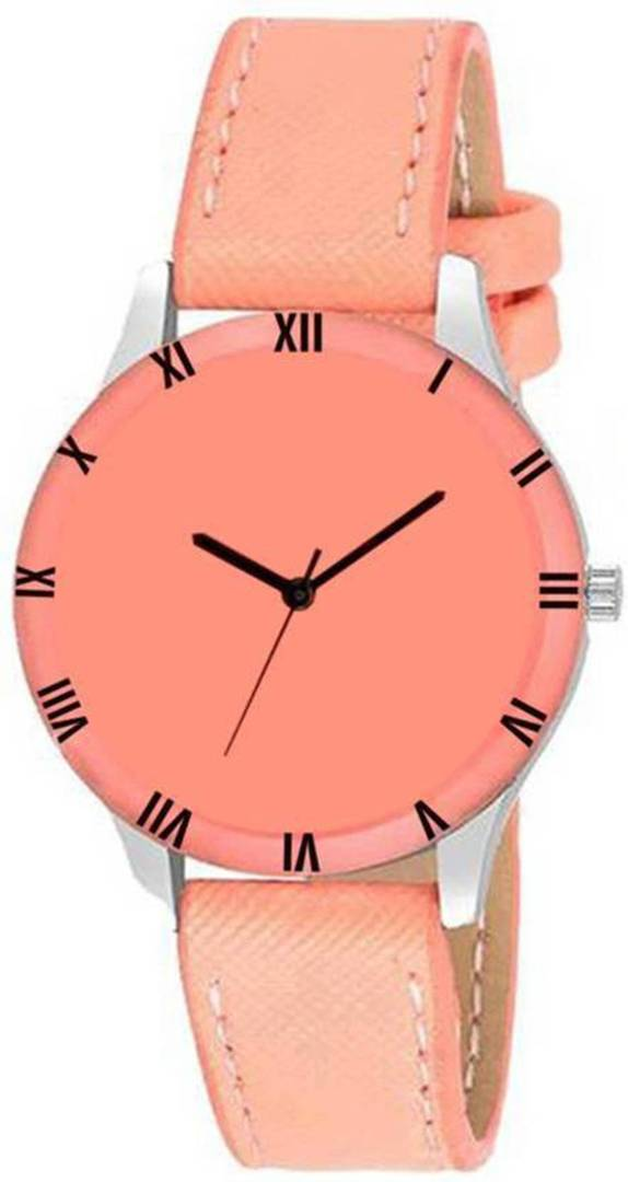 Stylish Peach Synthetic Leather Analog Watch