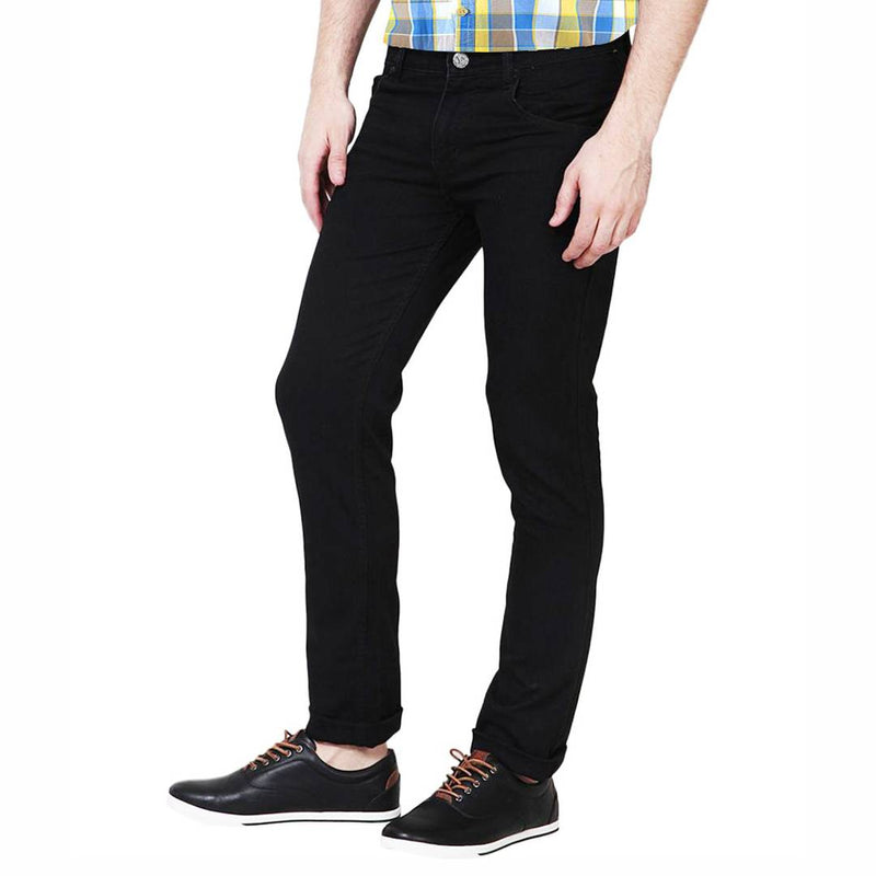 Black Cotton Spandex Slim Fit Trendy High look Jeans