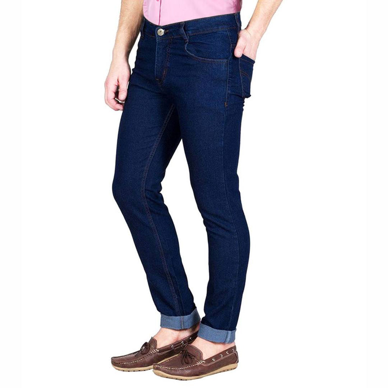 Dark Blue Cotton Spandex Slim Fit Trendy High look Jeans