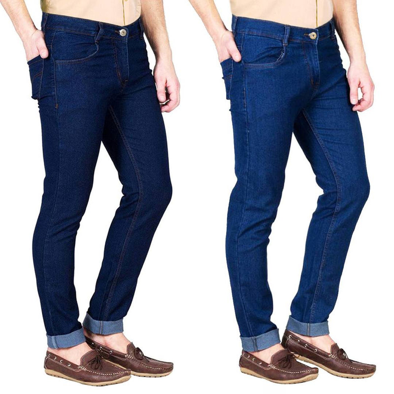 Multicoloured Cotton Spandex Slim Fit Trendy Jeans Pack Of 2