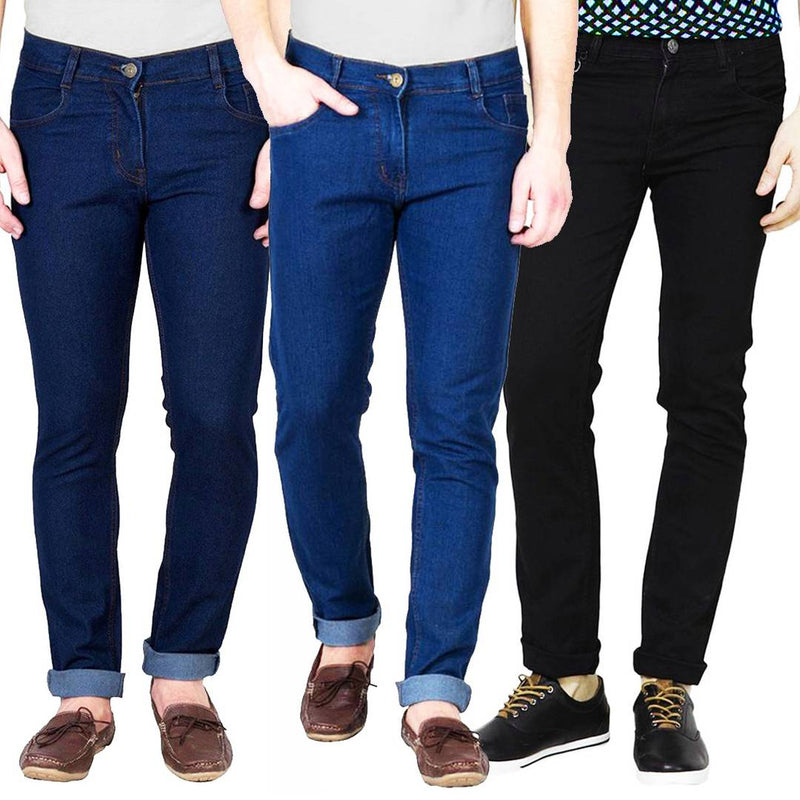 Multicoloured Cotton Spandex Slim Fit Trendy Jeans Pack Of 3