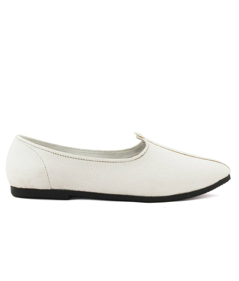 Men's White Synthetic Ethnic Jutti
