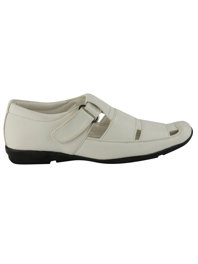 Men's White Synthetic Leather Solid Sandals