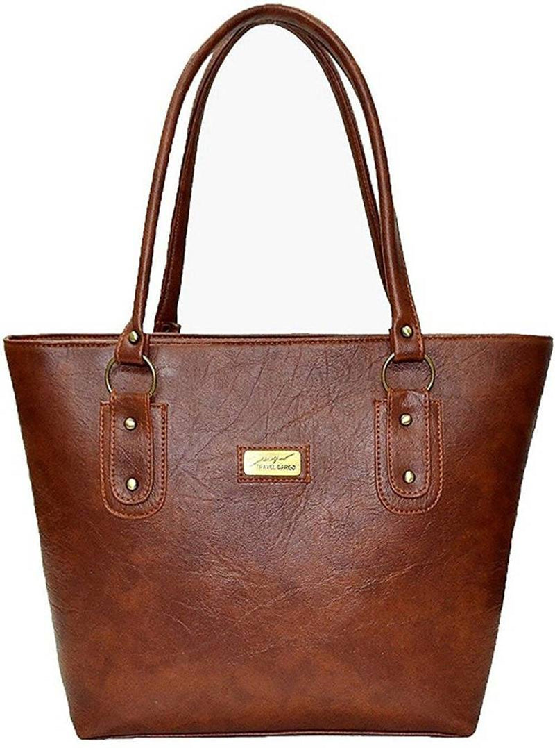 Brown Solid  Handbag