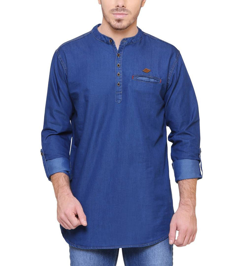 Ink Blue Denim Cotton Casual Short Kurta for Men