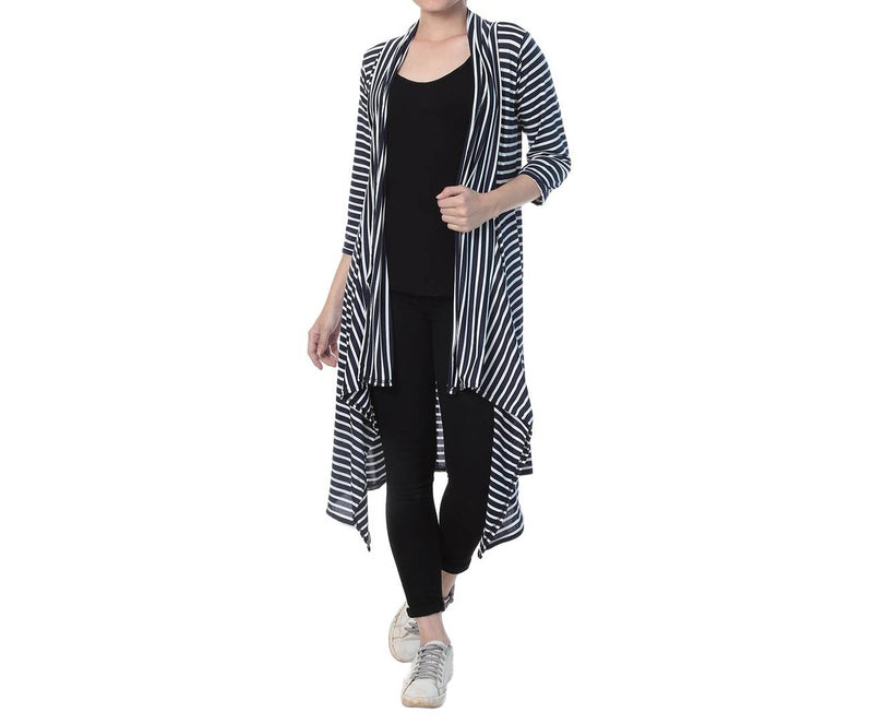 Multicoloured Cotton Striped Long Length Shrug