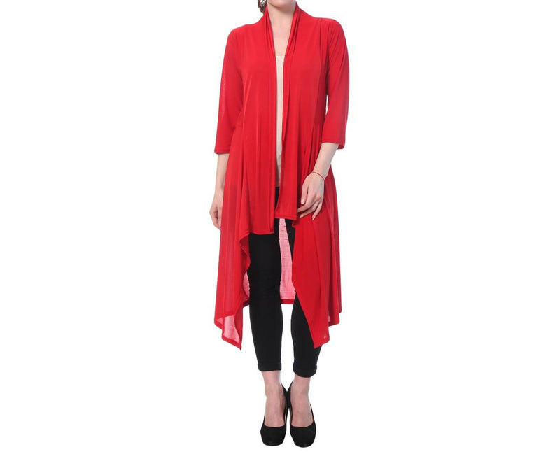 Red Cotton Solid Long Length Shrug