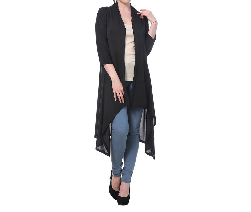 Black Cotton Solid Long Length Shrug