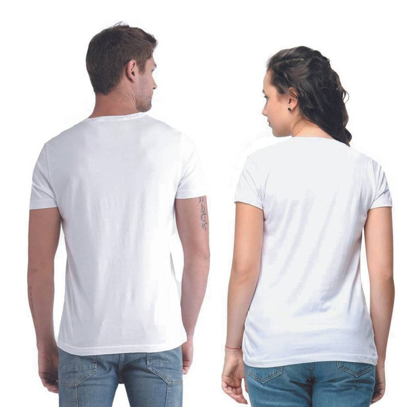 White Cotton Blend Round Neck Printed Couple T-Shirts for Men & Women