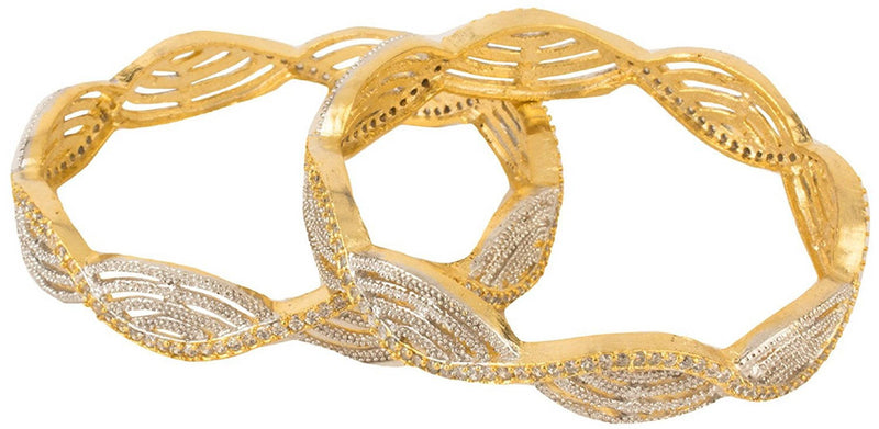 American Diamond Gold Plated Bangles Set for Women and Girls
