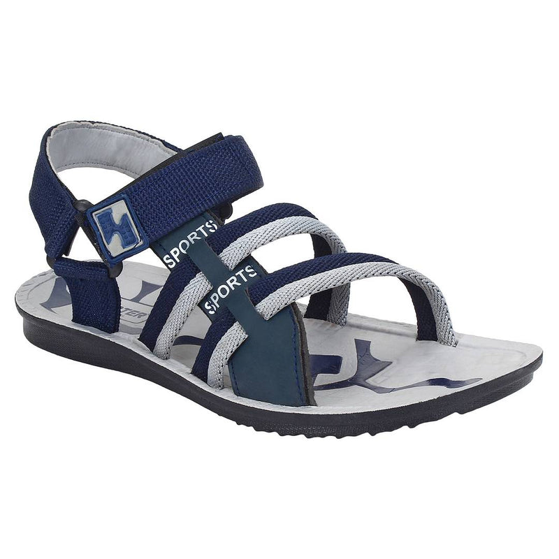 Men Blue Grey Canvas Comfort Sandals