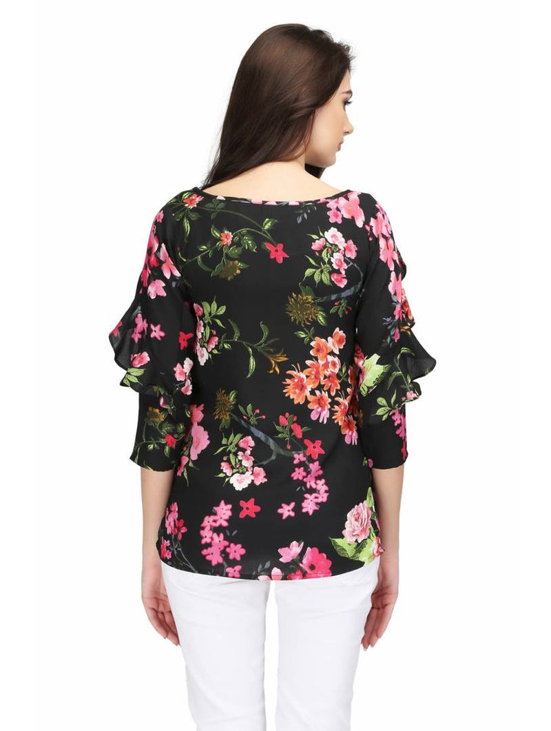 Black Floral Printed Ruffle Blouse Top