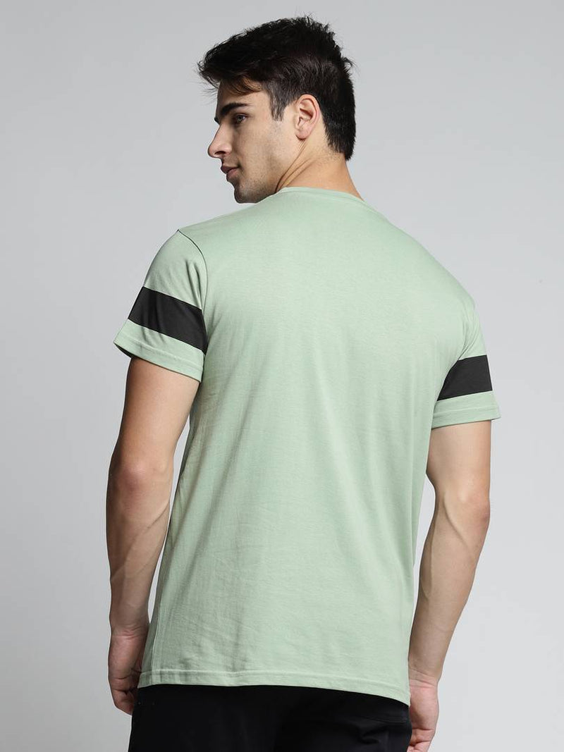 Dillinger Men's Green Printed Cotton Round Neck T Shirt
