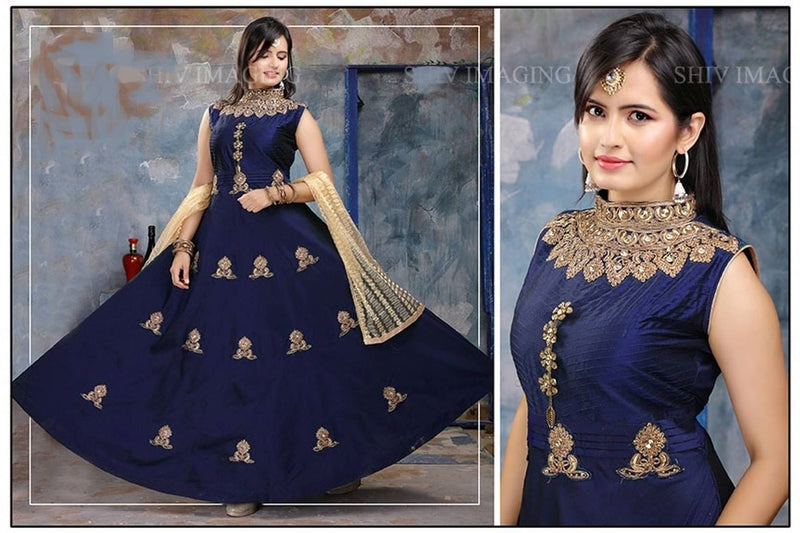 Designer Navy Blue Gown