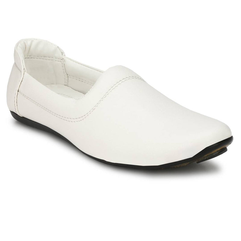 Men's White Synthetic Ethnic Nagda