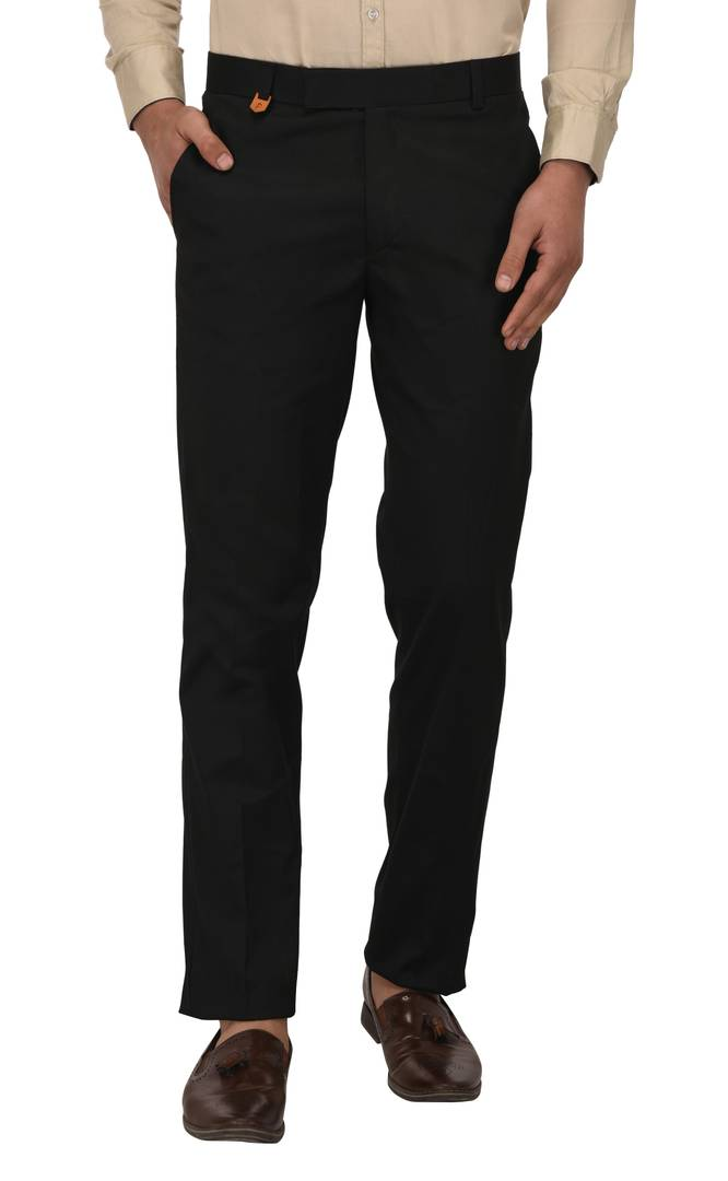 Black Stretchable Slim Fit Formal Trousers For Men