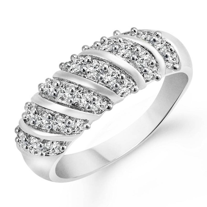 Curve Band (CZ) Rhodium Plated Alloy Ring for Women and Girls- [VFJ1025FRR]