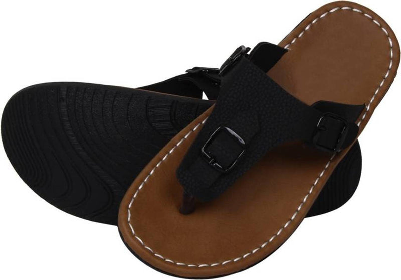 Men's Stylish Black Synthetic Leather Casual Slipper