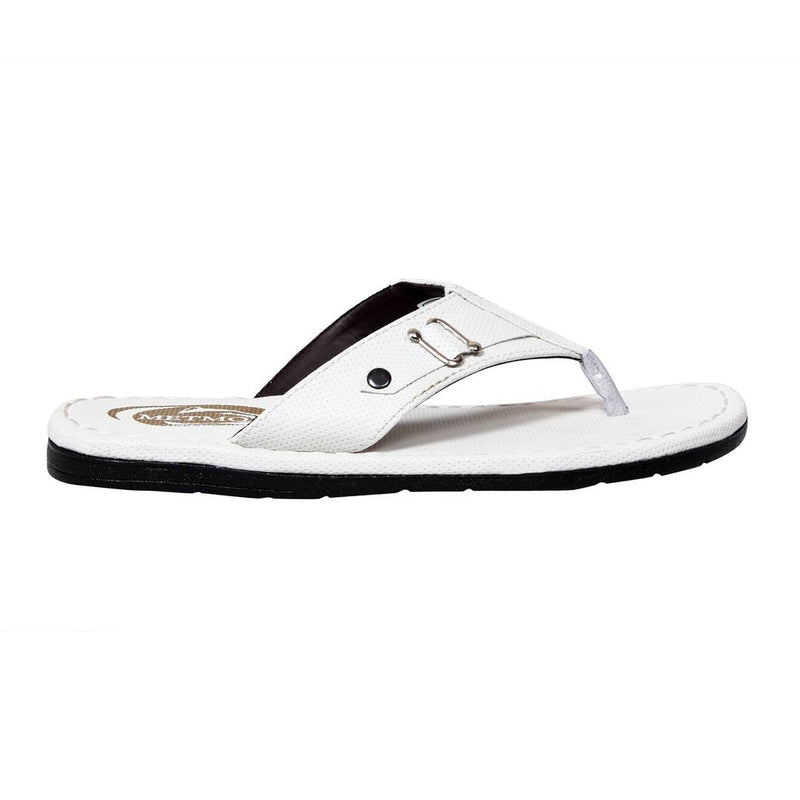 Men's Stylish Whie Synthetic Leather Casual Slipper