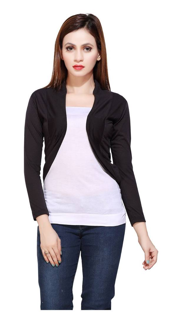 Black  Solid Viscose Rayon Shrugs for Women's