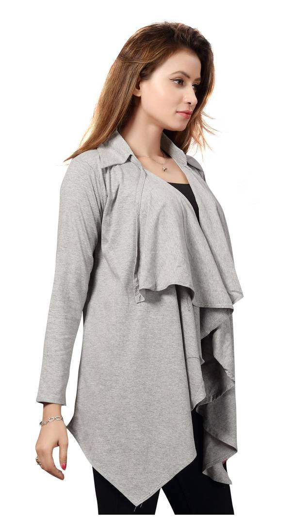 Grey  Solid Viscose Rayon Shrugs for Women's