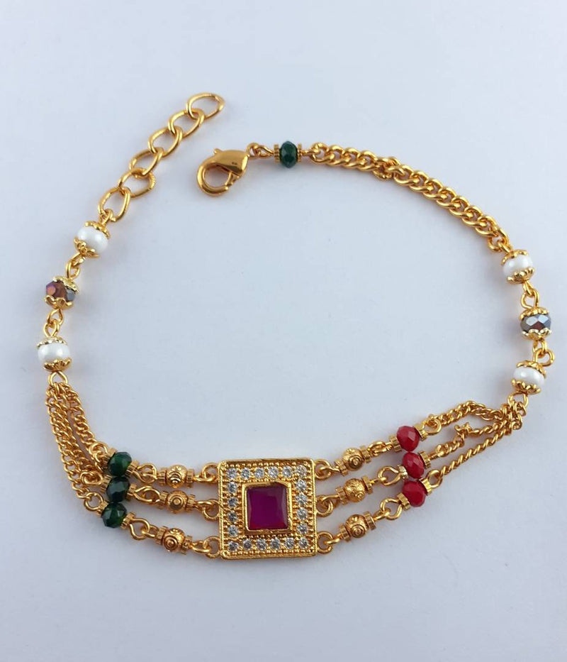 Gold Plated Beaded & American Diamond Bracelet