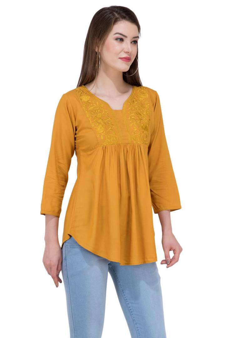 Women's Rayon Mustard Embroidered Top