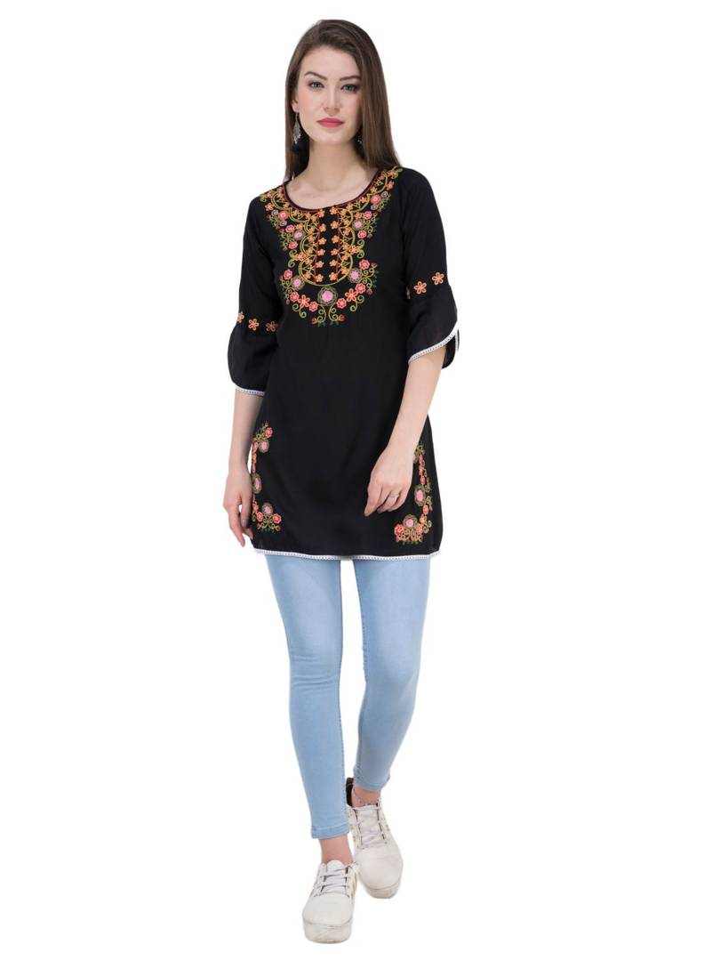 Women Rayon Black Embroidered Tunic Top