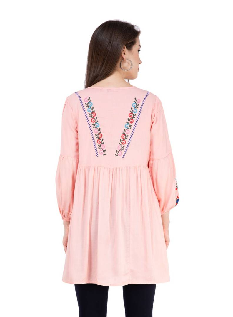 Women Rayon Pink Embroidered Tunic Top