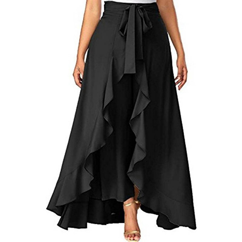 Women's Ruffle Solid Black Palazzos