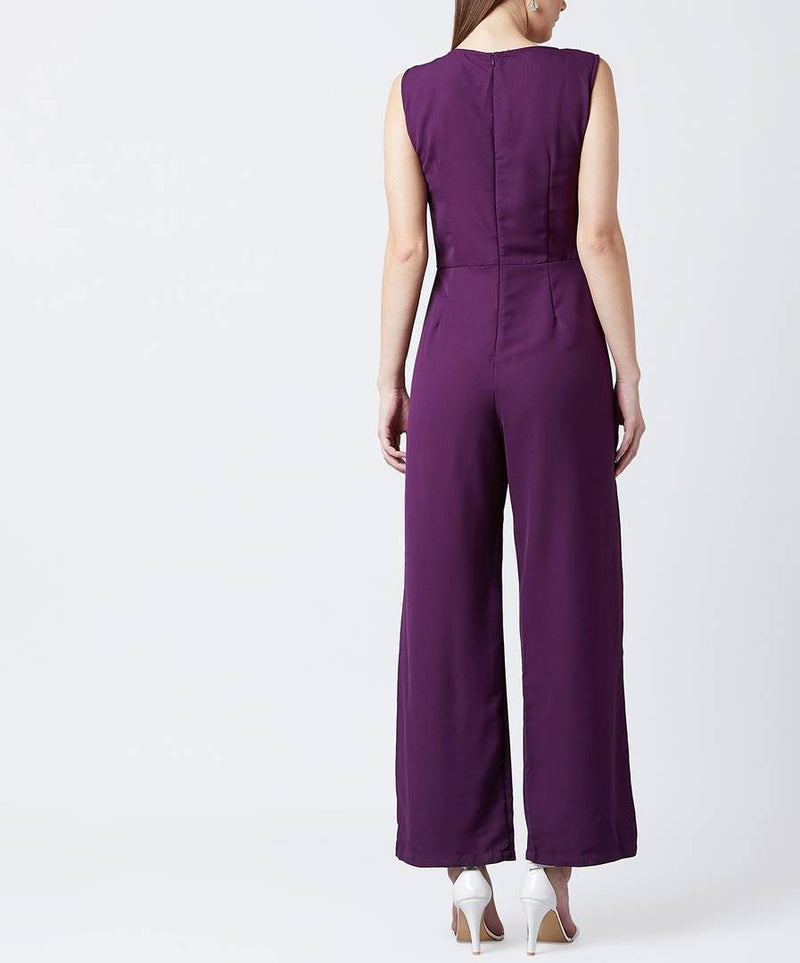 Polyester Sleeveless Basic Jumpsuit In Purple
