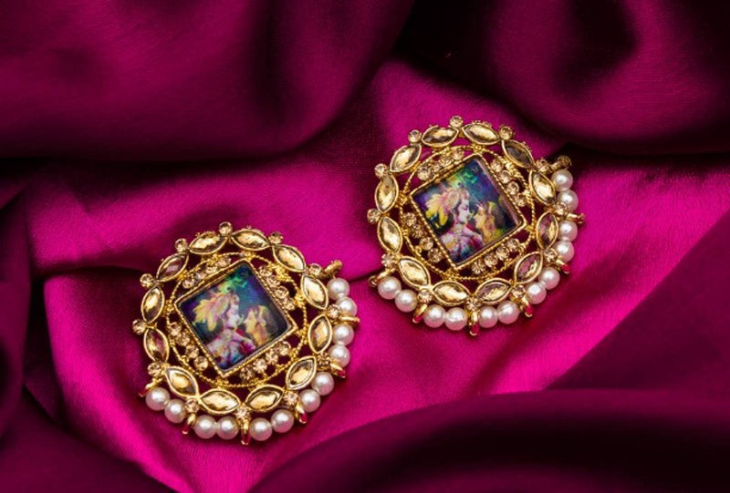 Kundan and Pearls Gold Plated Photo Image Earrings