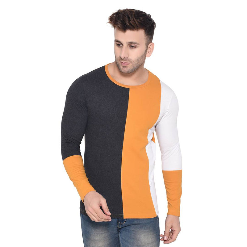 Multicoloured Colourblocked Cotton Round Neck Tees