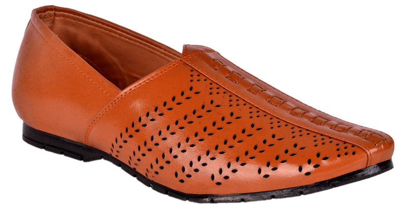 Elegant Perforated Tan Shoe Style Sandals