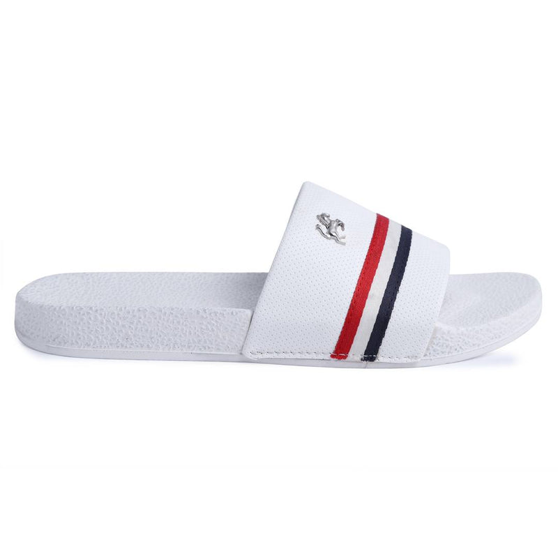 White Stripped Synthetic Casual Stylish Slide Slippers for Men