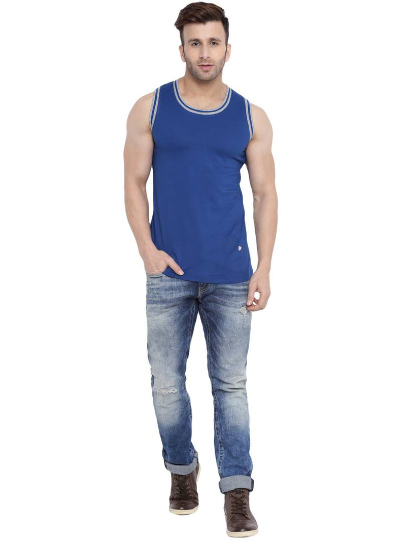 Indigo/Grey Melange Sleevesless Round Neck Vest