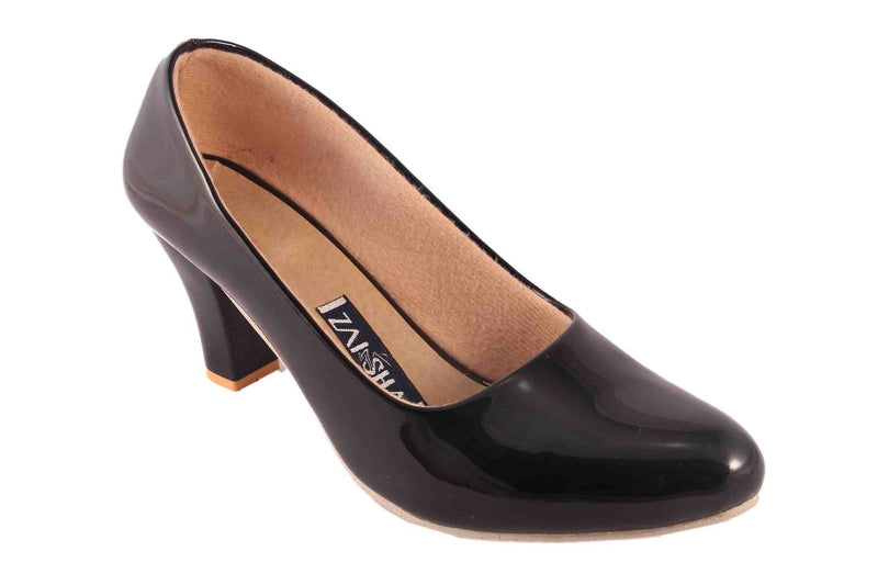 Comfy Black Faux Leather Heels for Women