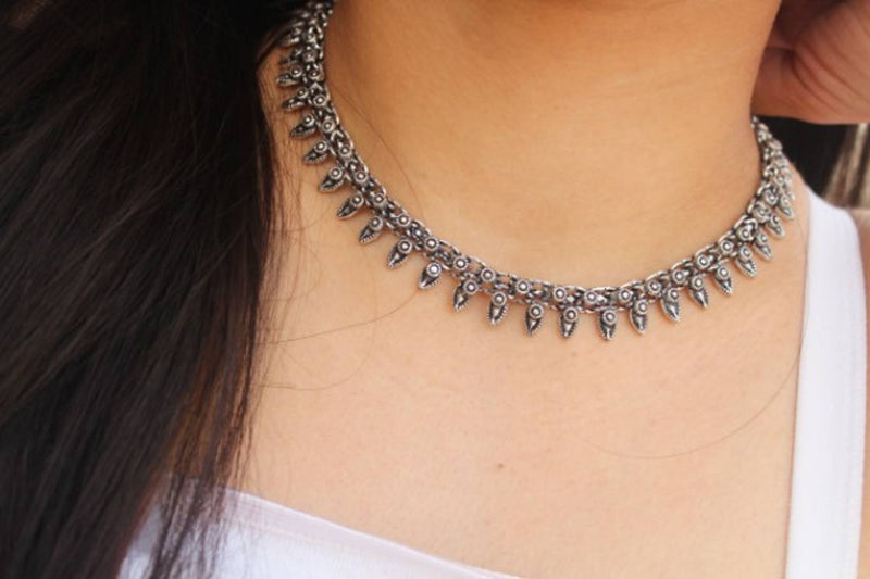 Oxidized Silver Necklace Choker for Women