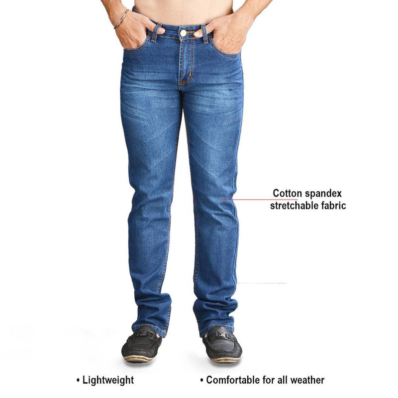 Blue Faded Cotton Spandex Slim Fit Mid-Rise Jeans