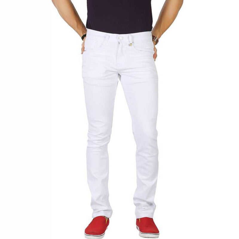 Men's White Cotton Blend Slim Fit Mid-Rise Jeans