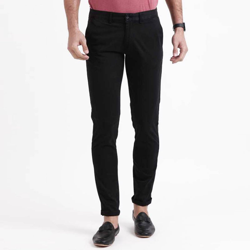 Men's Black Cotton Blend Slim Fit Mid-Rise Jeans