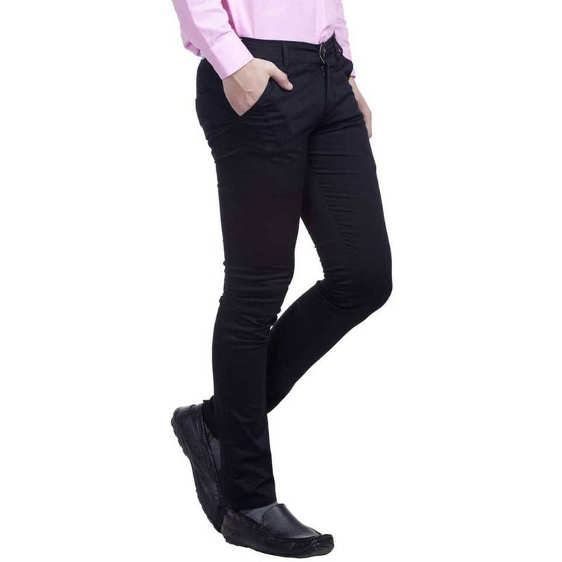 Men's Black Cotton Blend Slim Fit Mid-Rise Chinos