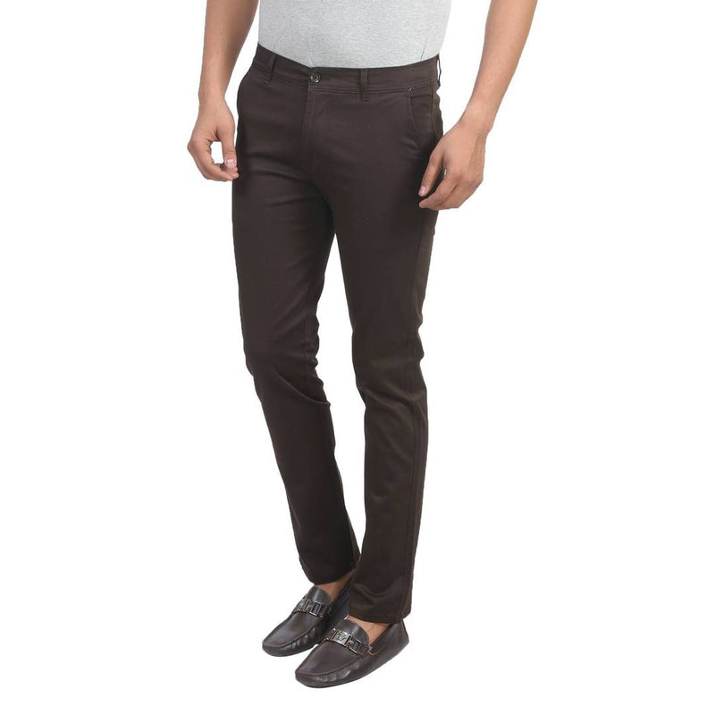 Men's Brown Cotton Blend Slim Fit Mid-Rise Chinos