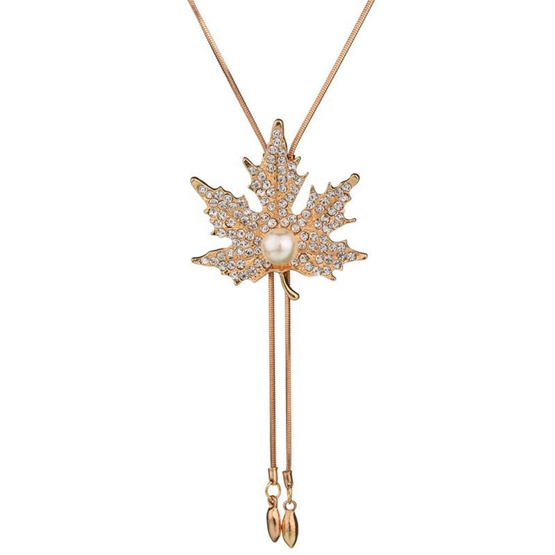 Ritzy Gold Plated Leafy Rose Necklace for Women