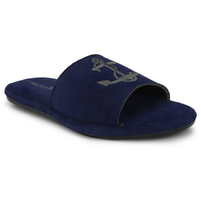 Men  Blue Anchor Sliders/Flip Flops/Slippers for Daily Casual Wear