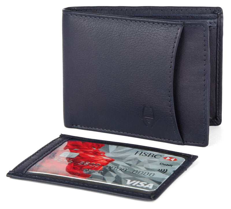 Premium Navy Blue Leather Solid Wallet For Men
