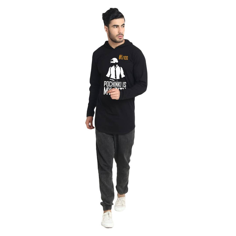 Men's Black Printed Cotton Hooded Tees