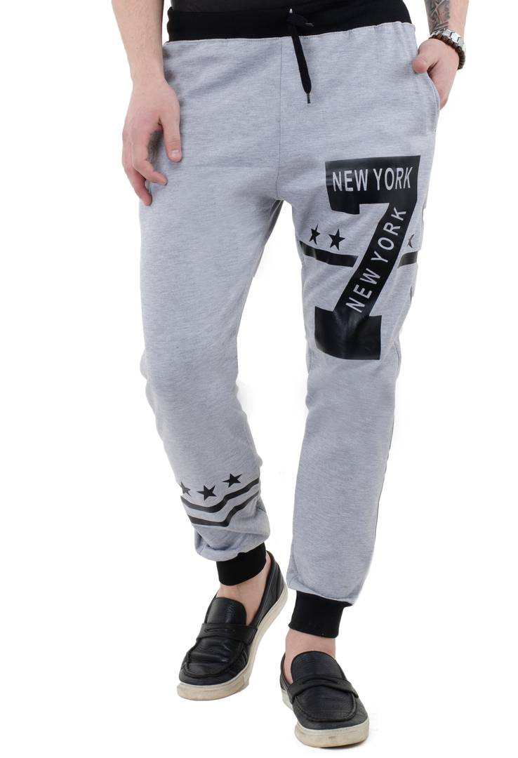 Men's Grey Polycotton Self Pattern Regular Fit Joggers