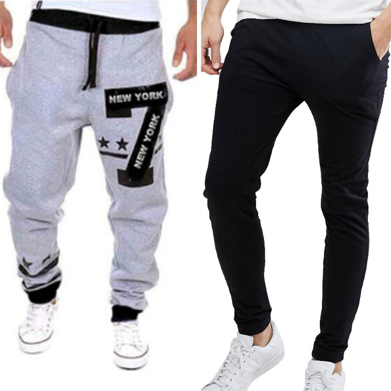 Men's Multicoloured Polycotton Self Pattern Regular Fit Joggers Pack of 2